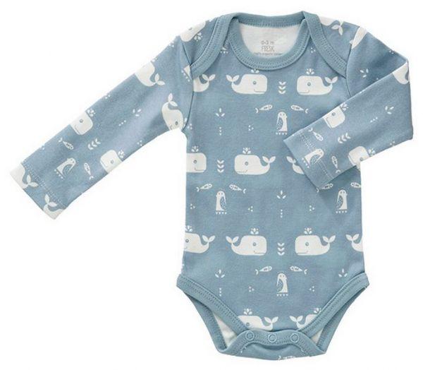 Fresk Baby Body Langarm Wal blau