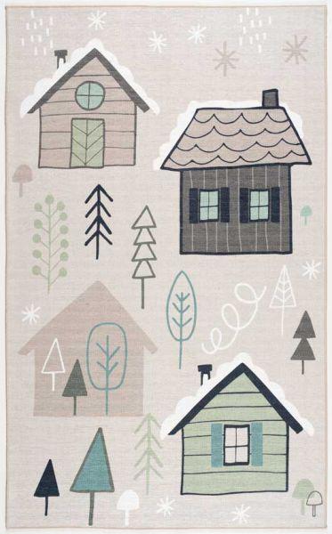 Scandic Living Kinderteppich Häuser natur/multi print