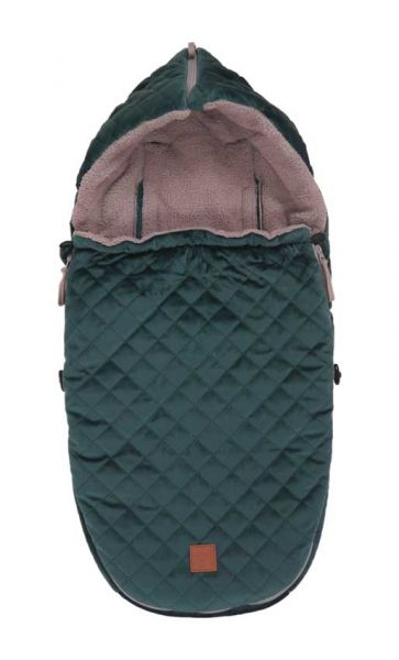 Kaiser Fußsack Velvet Hoody für Babyschalen petrolgrün für Größe 0 mit 3-5 Gurtsystem
