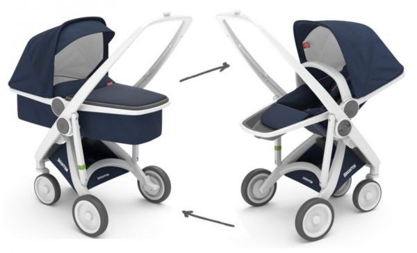 Greentom Upp Reversible mit Babywanne White Blue