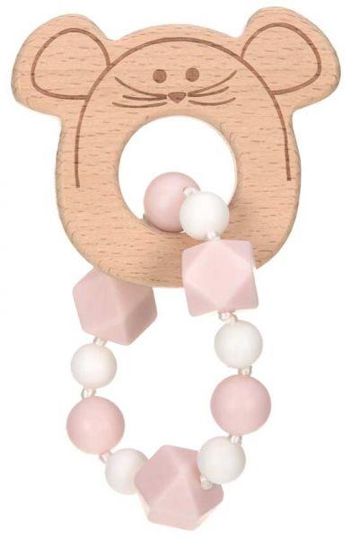 Lässig Holz Greifling mit Beißhilfe Maus rosa
