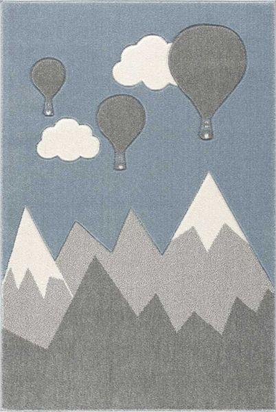 Scandic Living Kinderteppich Berge und Ballons silbergrau/weiß