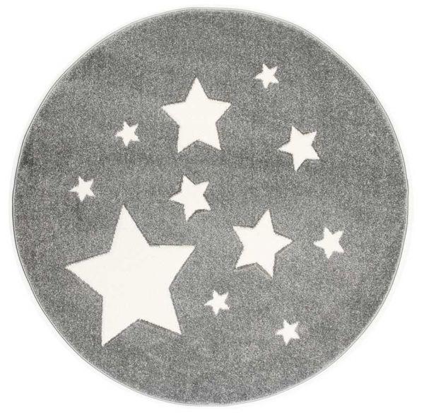 Scandiv Living runder Kinderteppich Sterne silbergrau
