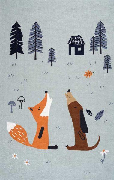Scandic Living Kinderteppich Fuchs und Hund print