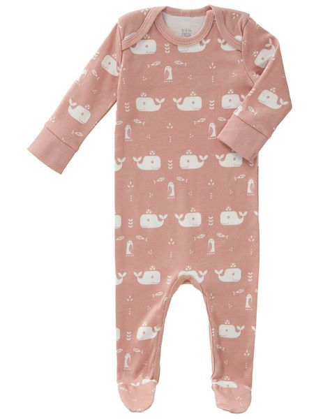 Fresk baby bio romper suit with feet Whale mellow rose