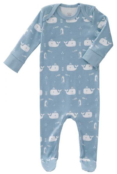 Fresk baby bio romper suit with feet Whale blue fog