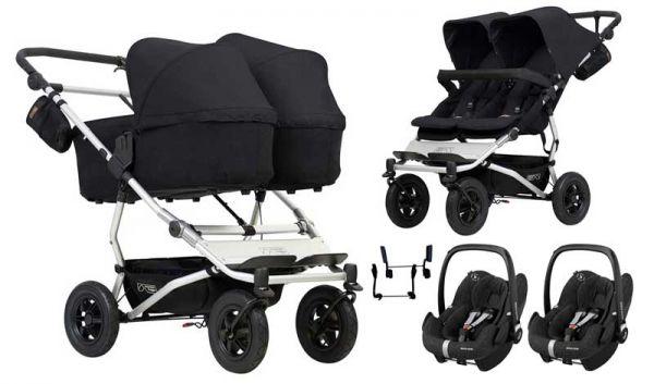 Mountain Buggy Duet 3-in-1 Twin Zwillingskinderwagen mit Maxi Cosi Rock