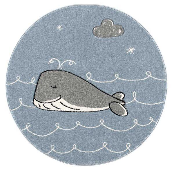 Scandic Living runder Kinderteppich Wal blau/silbergrau