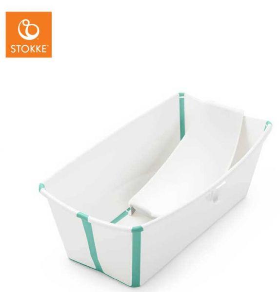 Stokke Flexi Bath Babybadewanne mit Neugeborenenaufsatz White Aqua