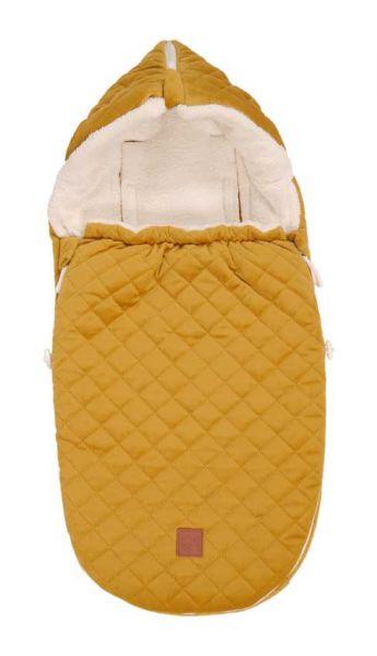 Kaiser Fußsack Velvet Hoody für Babyschalen senfgelb für Größe 0 mit 3-5 Gurtsystem
