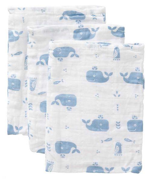 Fresk Waschlappen Wal blau