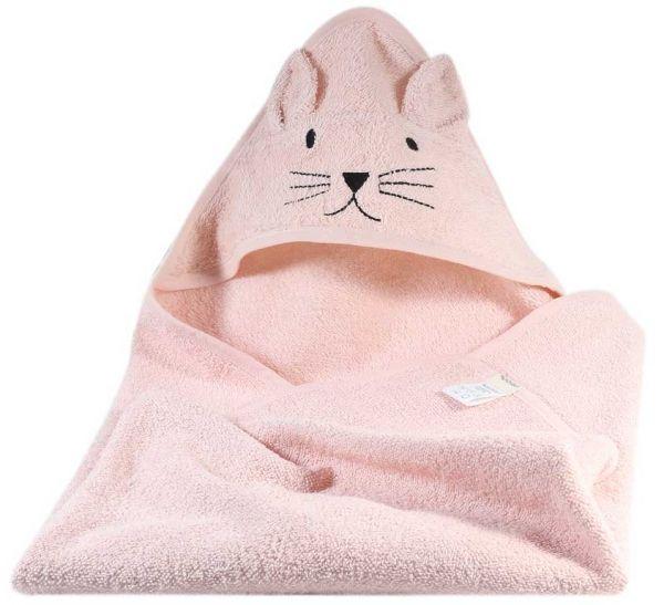 Kindsgut Kapuzenhandtuch Katze in der Farbe rosa