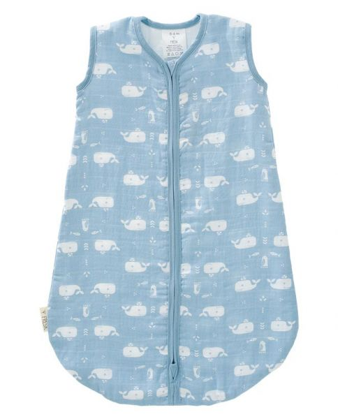 Fresk Muslin Baby Schlafsack Wal blau