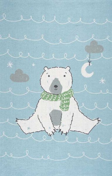 Scandic Living Kinderteppich Eisbär hellblau print